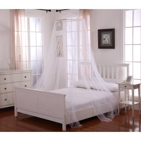 Oasis Round Hoop Polyester Sheer Mosquito Netting Bed Canopy