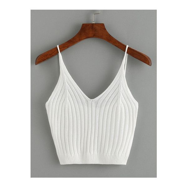 a4fea01591947 SheIn(sheinside) Ribbed Knit Crop Cami Top - White ( 8.99) ❤ liked on Polyvore  featuring tops