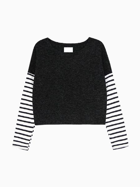 Short Top With Stripe Sleeves - Choies.com