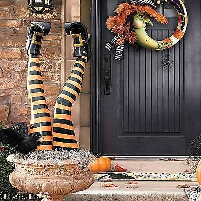 Set of Two Witch Leg Stakes Indoor Outdoor Halloween Decoration Yard - halloween party decorations cheap