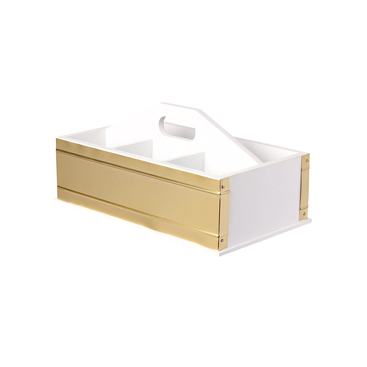 Amazon.com : Kate And Laurel Industrious Desktop Office Supply Caddy  Organizer, White And