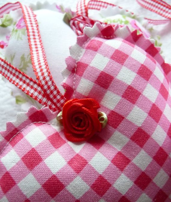 Shabby Chic Decorative Red Gingham Polka Dot Floral Hanging