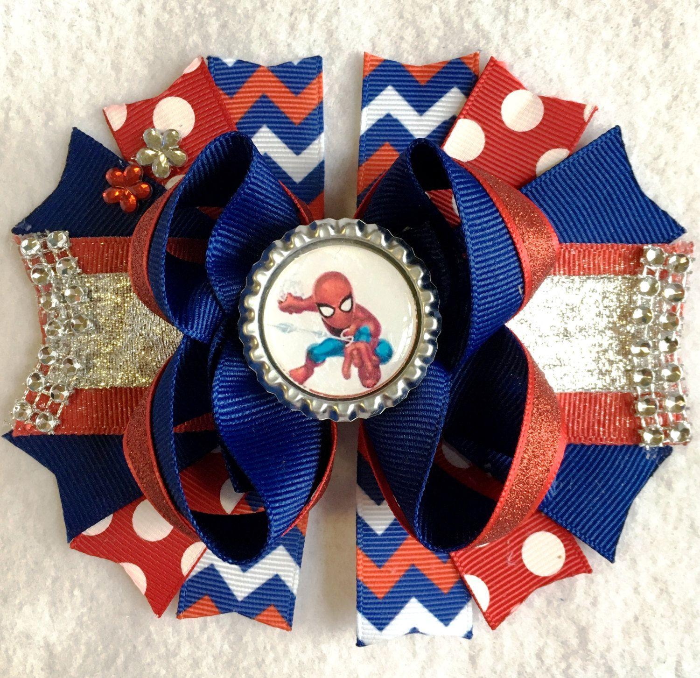 b3c0b08950d4 Spiderman girls hair bow/Superhero hair bow/Spidey girls hair bow/Spiderman  bow