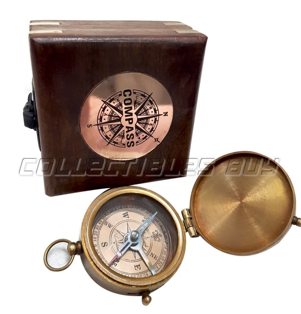 Antiques Gift Antique Nautical Brass Compass With Wooden Box Maritime