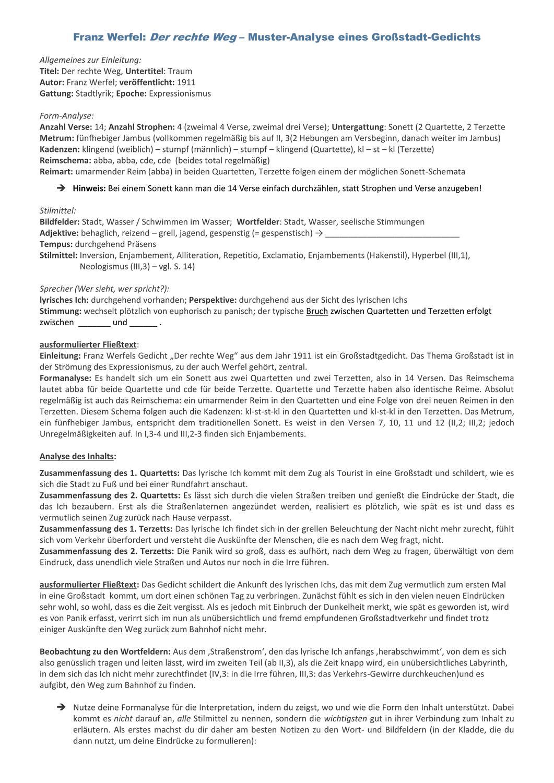 Deutsch Mittelstufe Kl 8 9 Musteranalyse Eines Leichteren Grossstadt Gedichts Werfel In 2020 Mittelstufe Lernen Tipps Schule Deutsche Schule