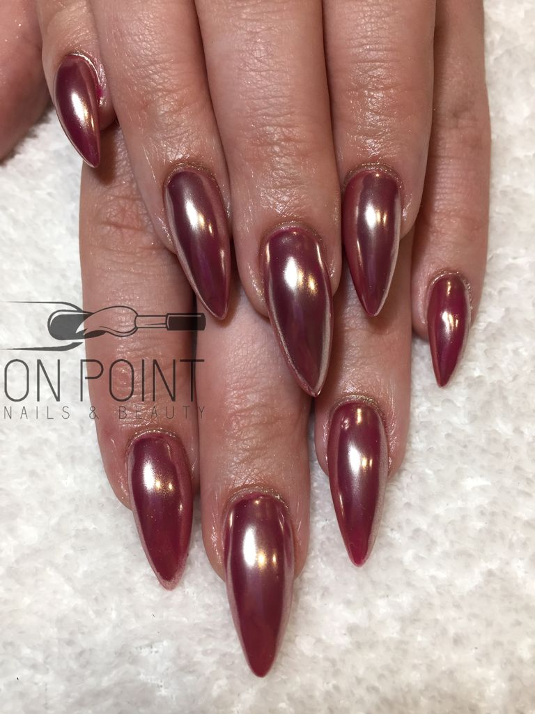 Fluid Nail Design Acrylic Nails With Hot Pink Gel Polish Covered In Chrome Long Almond Stiletto