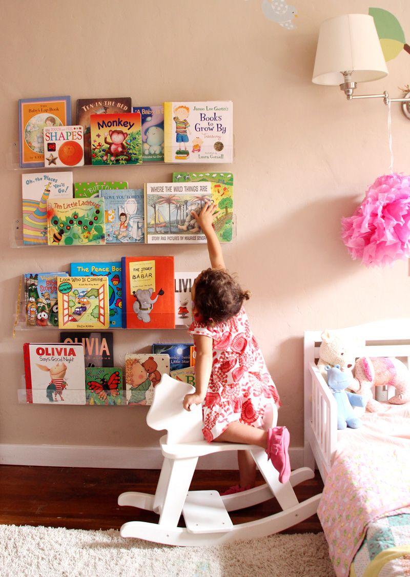 Cute Bookshelf girls' room: acrylic bookshelves & a library wall- cuter shelves