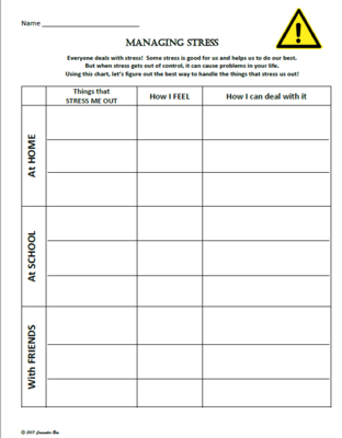 Stress management : Managing Stress Worksheet Activity Editable \u0026 Personalizable from Counse