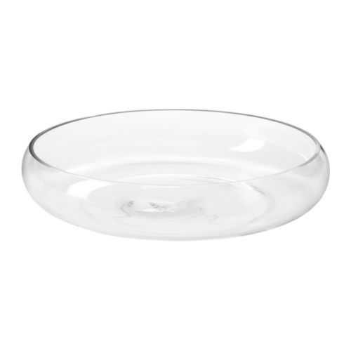 BLOMSTER Bowl IKEA The glass bowl is mouth blown by a skilled craftsperson. Soft feet stabilizes the bowl and protects the underlying surface.  to put the candles and river rocks in