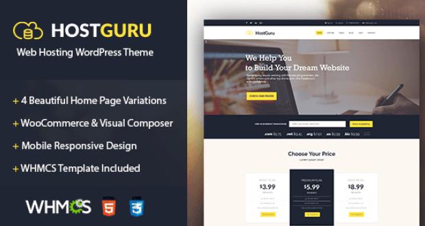 HostGuru - Responsive Hosting WordPress Theme + WHMCS Free Download ...