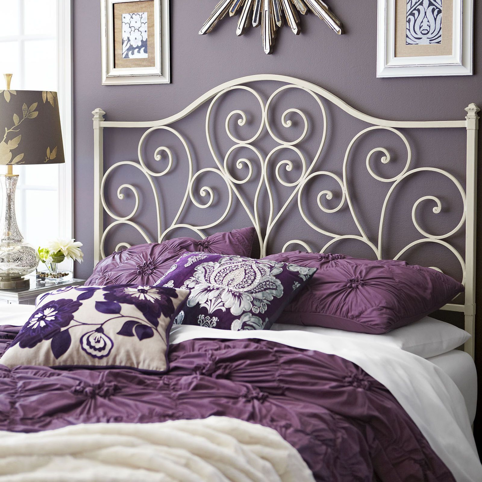 For Those Who Heart Vintage Style Headboards Our Wrought Iron Design Is Accented With Heart Shaped Scr White Headboard Headboard Styles Wrought Iron Headboard