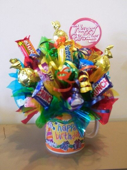 Happy birthday candy gifts and crafts bouquets