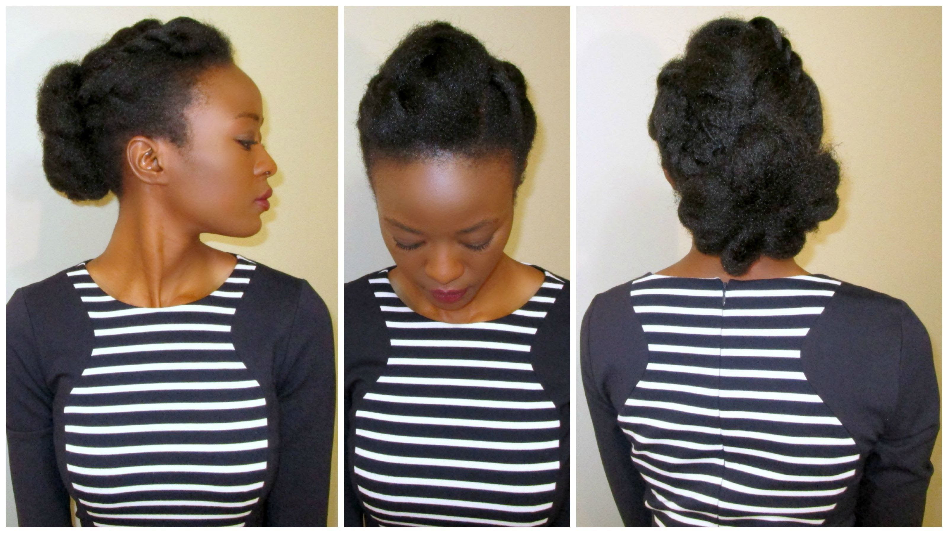 Flower & Fishtail Bun 4c Natural Hair