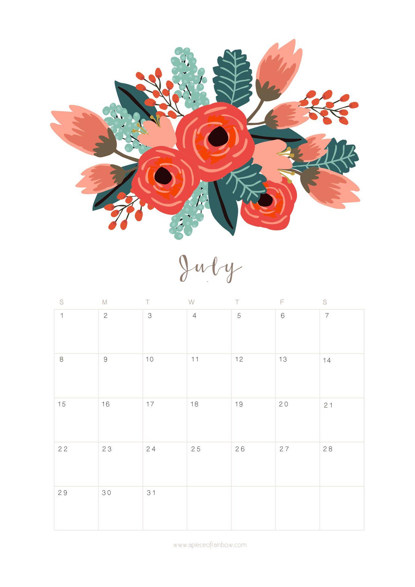 Printable July 2018 Calendar Monthly Planner – Flower ...