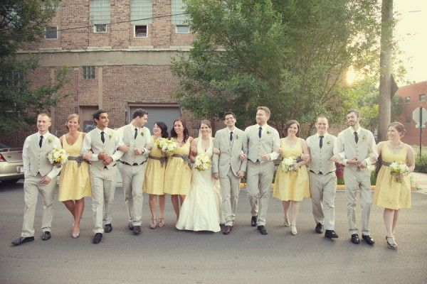 Real Weddings: Julia + Shaun | Grey weddings, Gray bridal parties ...