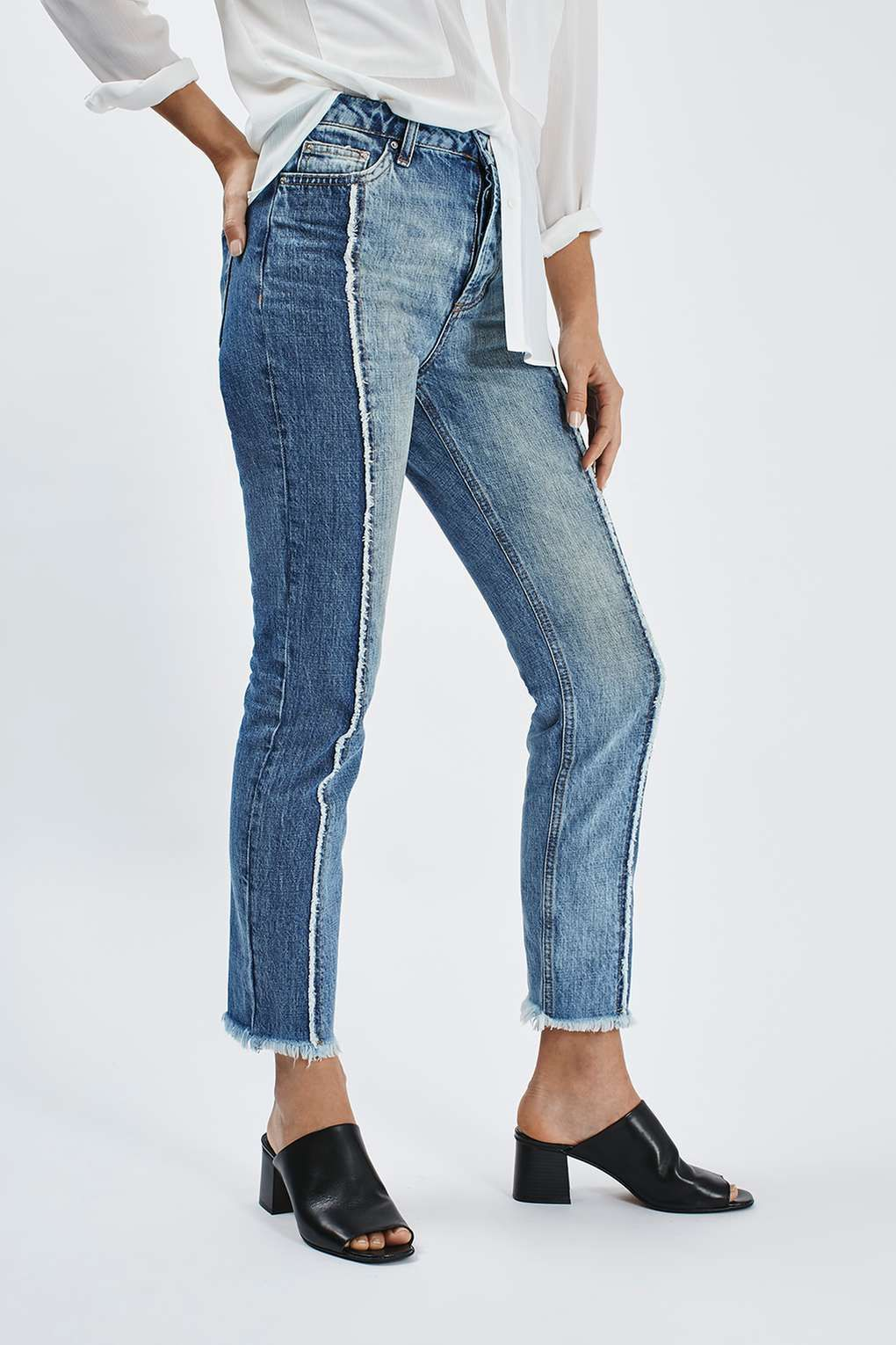 83f24444f757 MOTO Panel Straight Leg Jeans - Topshop Two Toned Jeans