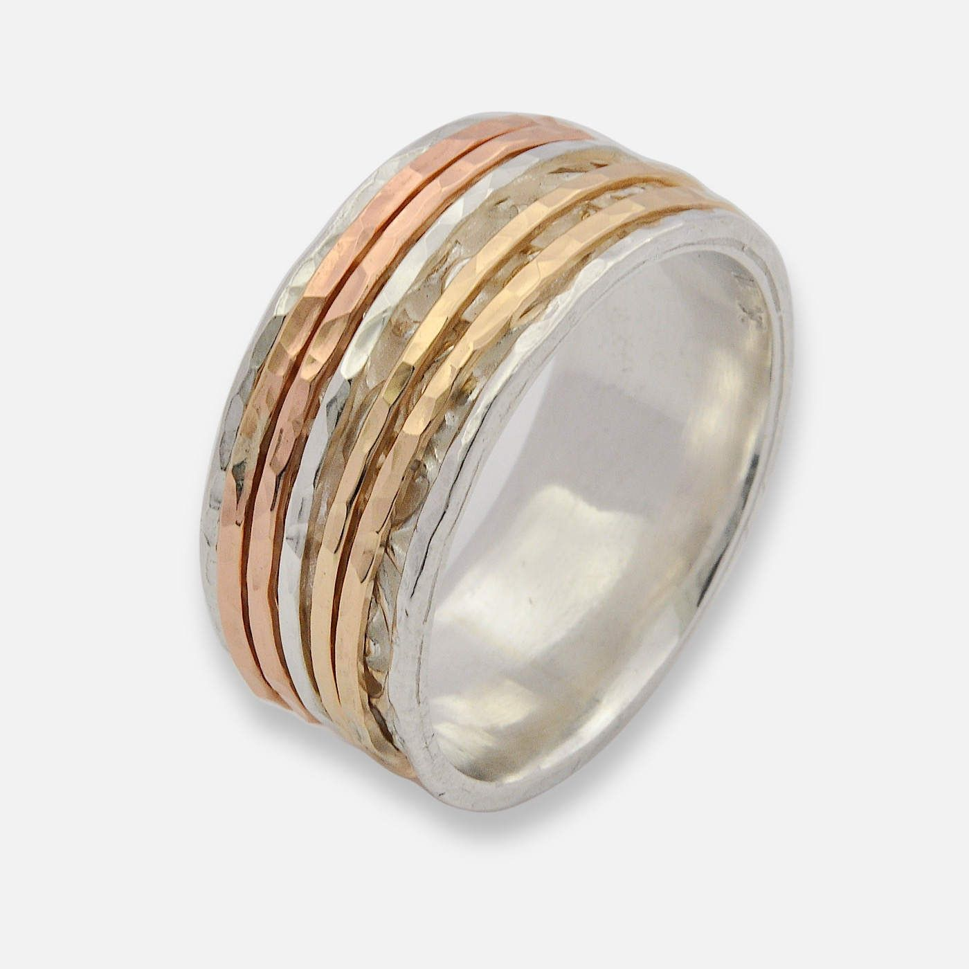 Tri Colored Spinner Ring Rose Gold Spinner Ring Silver and Gold