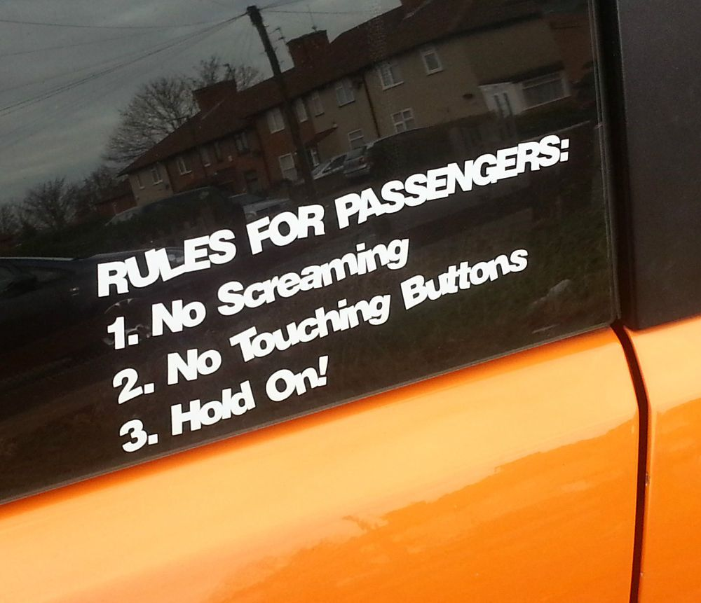 Rules for passengers funny car windows jdm vw vag euro vinyl sticker decals