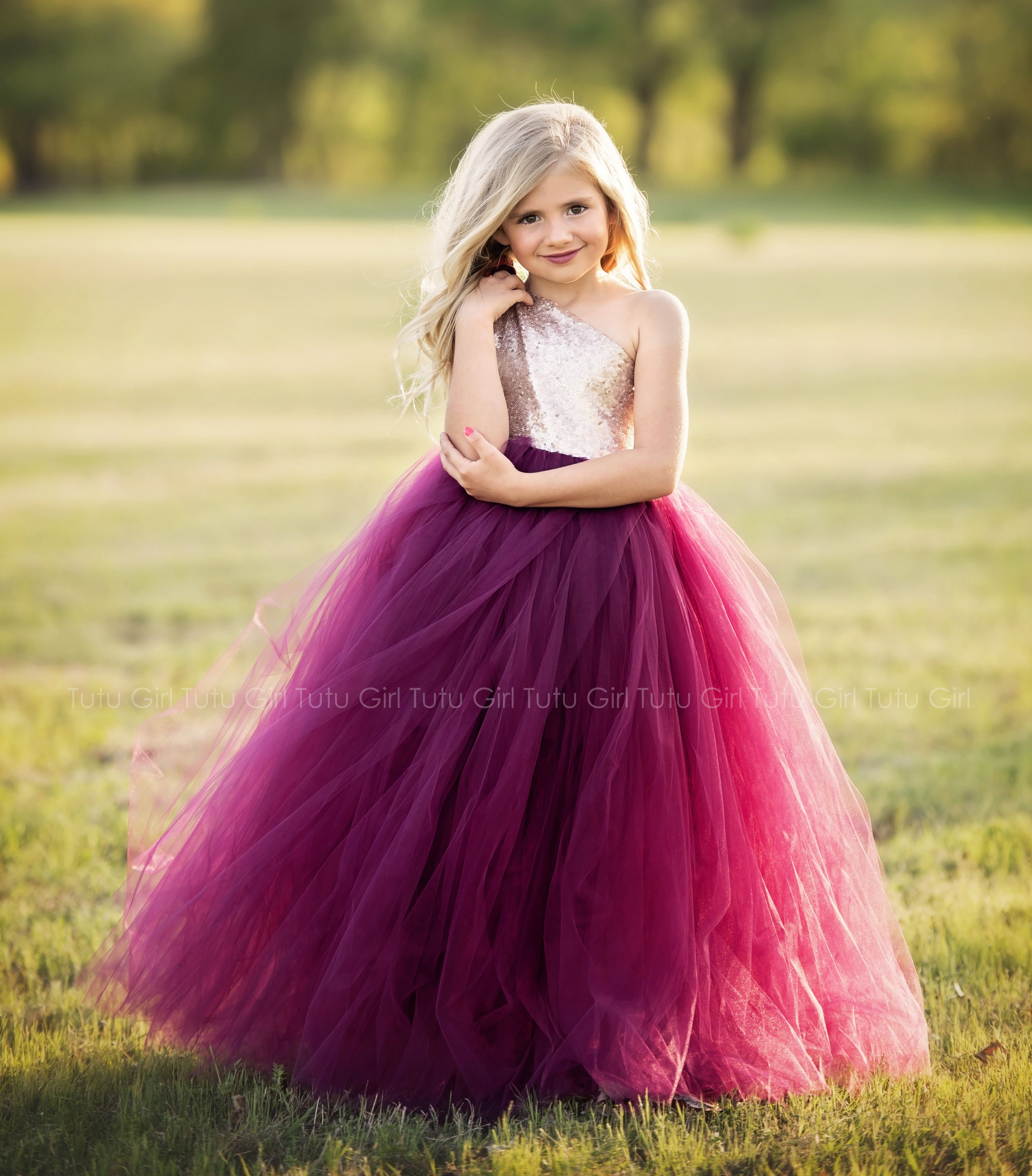 Burgundy Flower Girl Tutu Dress With Sequins One Shoulder Dress