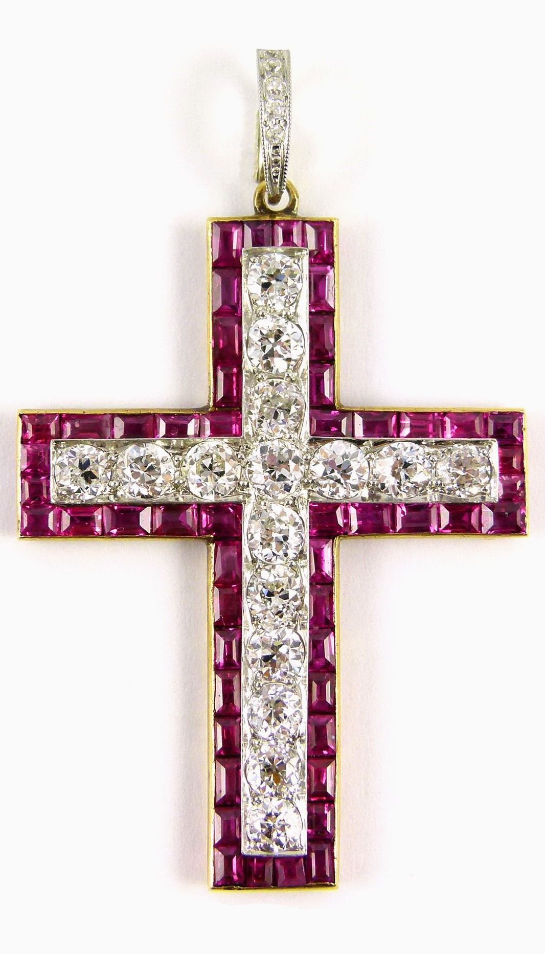 5bc9e23d19 Antique ruby and diamond cross pendant, English c.1900, of Latin form, the  straight sided arms set with a line of brilliant cut diamonds in a border  of ...