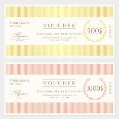 Voucher Gift Certificate Coupon Template Banknote Money Currency Cheque Check Vector Art Ilration