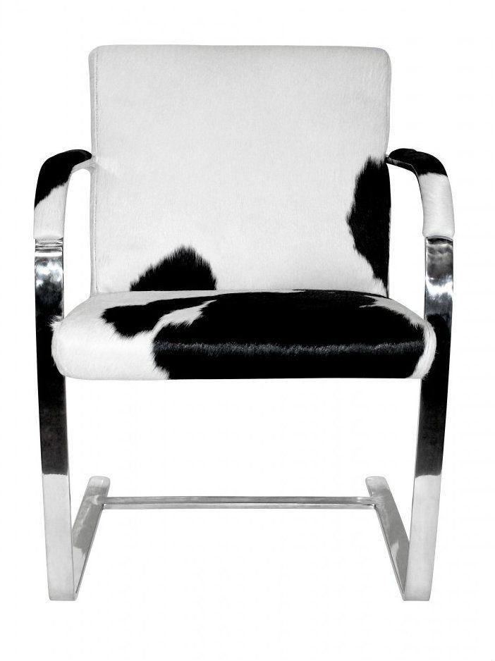 black and white cowhide chair xbox wheelchair chairs ludwig mies van der rohe replica brno