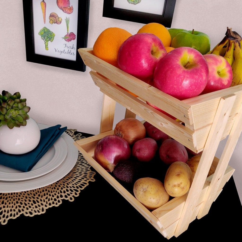 2 Tier Wooden Countertop Fruit Basket Stand Fully