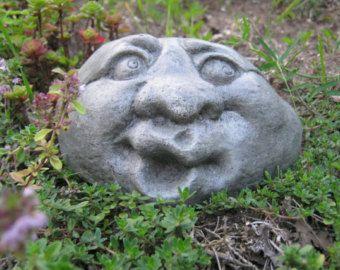 Garden Rock Face, Concrete Garden Face, Funny Face, Rocks With Faces, Garden