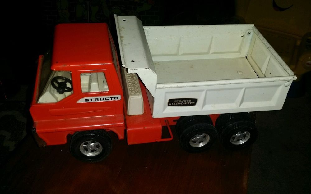 Old Structo dump truck Steer-O-Matic Red White diecast Hydraulic ...