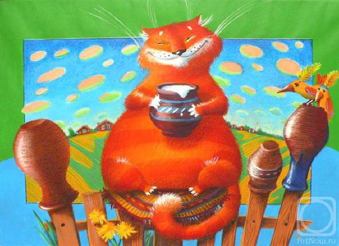 gato artista, ilustración de Elena Krasnova