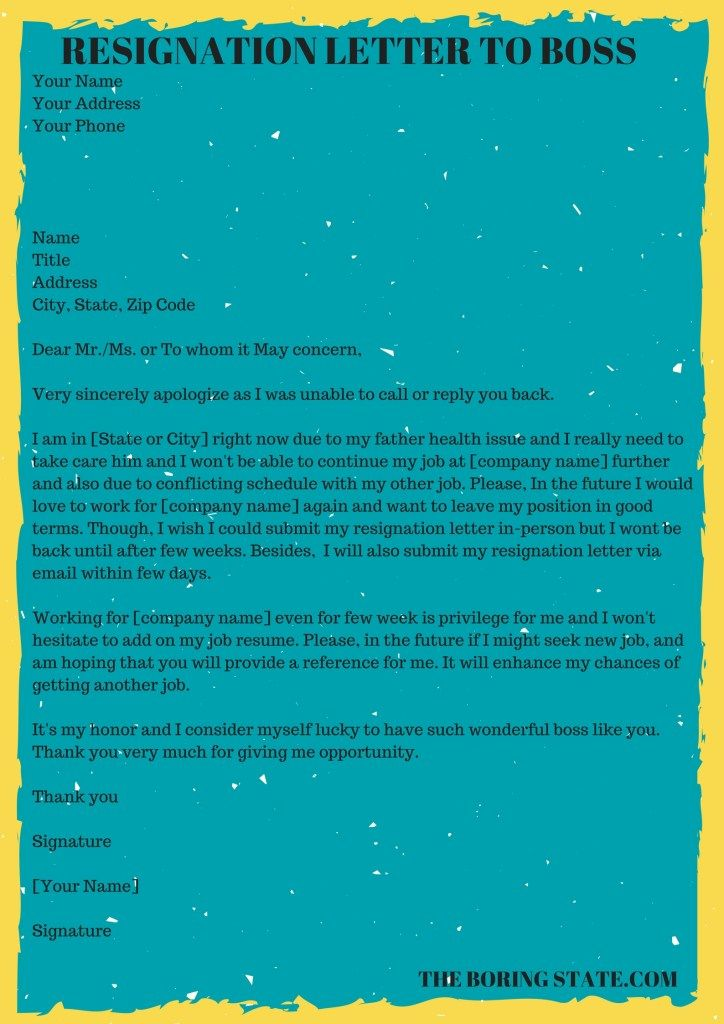 How to write a resignation letter leaving the job for personal ...