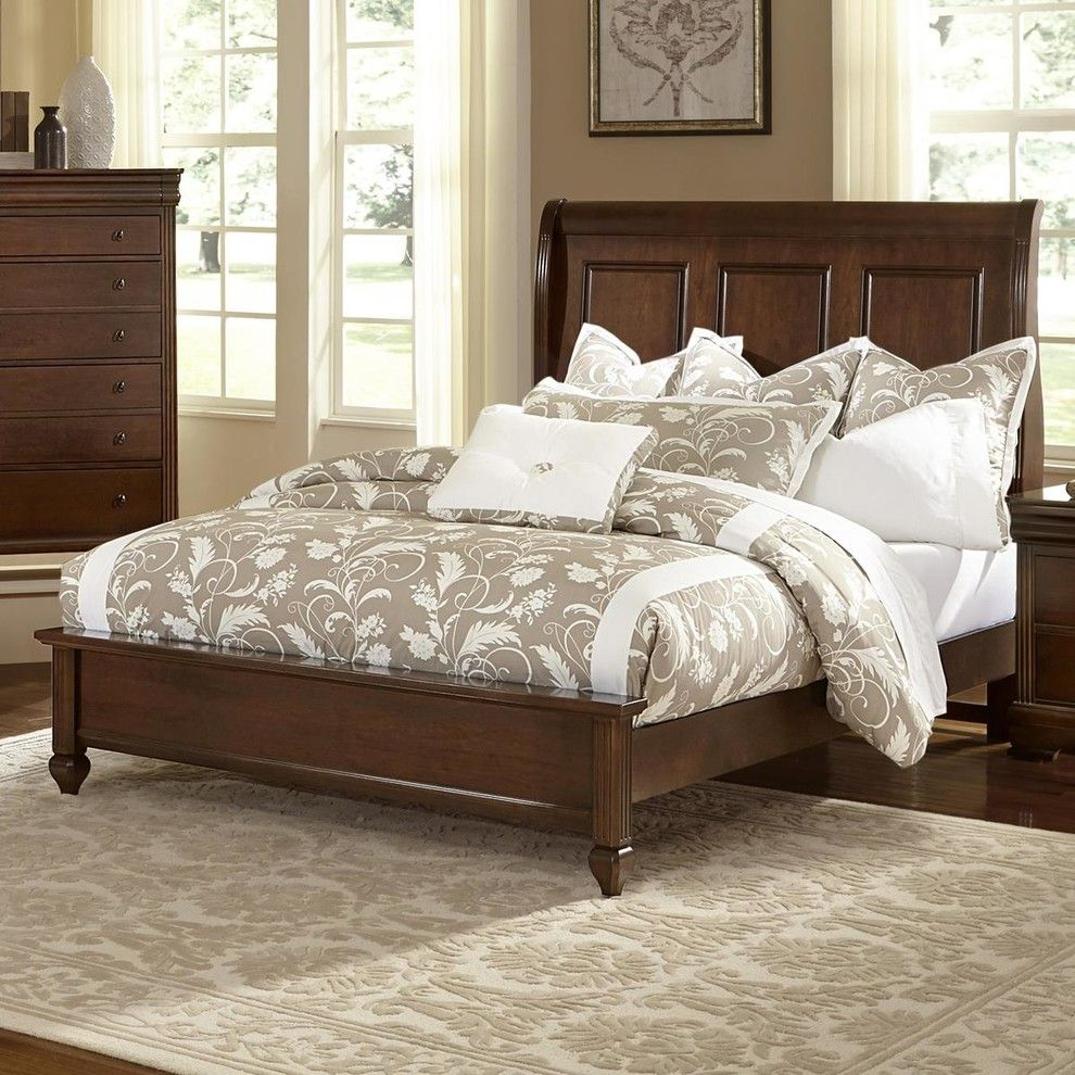 All American French Market Queen Low Profile Sleigh Bed French