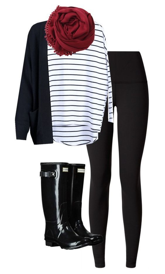 #fall #outfits / Stripes + Red Scarf