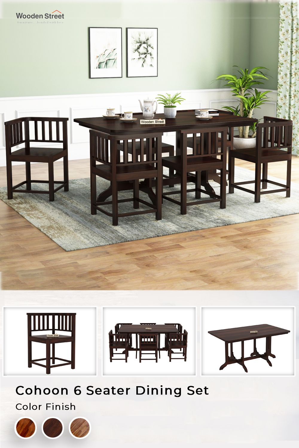 Buy Cohoon 6 Seater Dining Set Walnut Finish Online In India Wooden Street 6 Seater Dining Table Dining Table Decor Dining Room Design