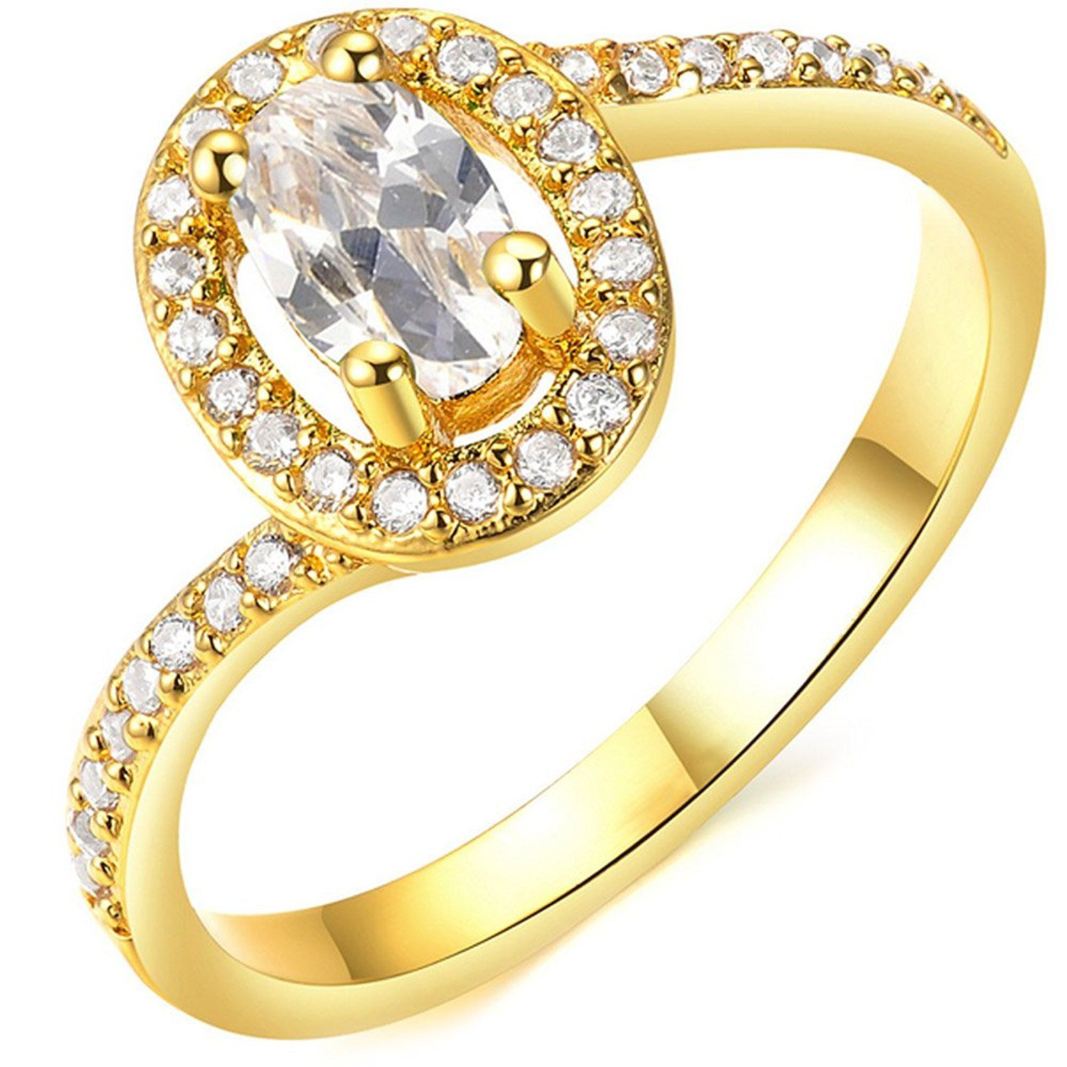 BOHG Jewelry Womens Oval White AAA Cubic Zirconia 18K Gold