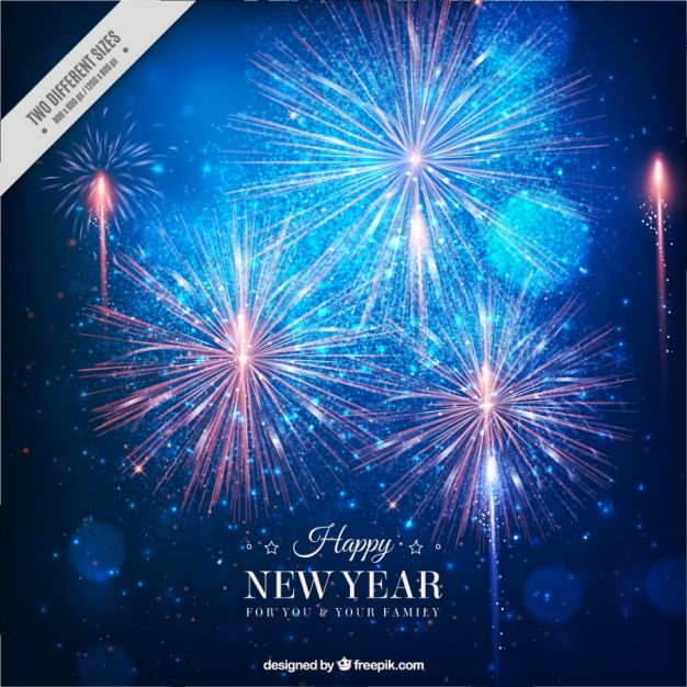 fantastic new year background with bright fireworks free vector