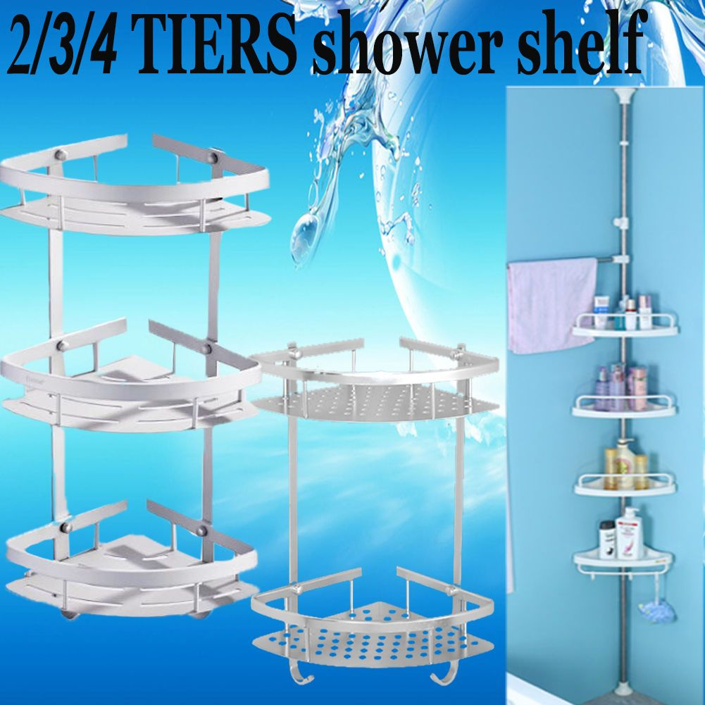2/3/4 Layers Telescopic Bathroom Corner Shower Shelf Rack Organiser ...