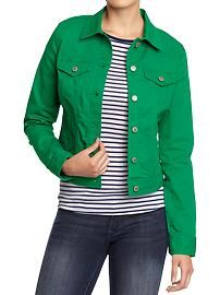 8d20688de788b Really like this kelly green denim jacket from old navy!