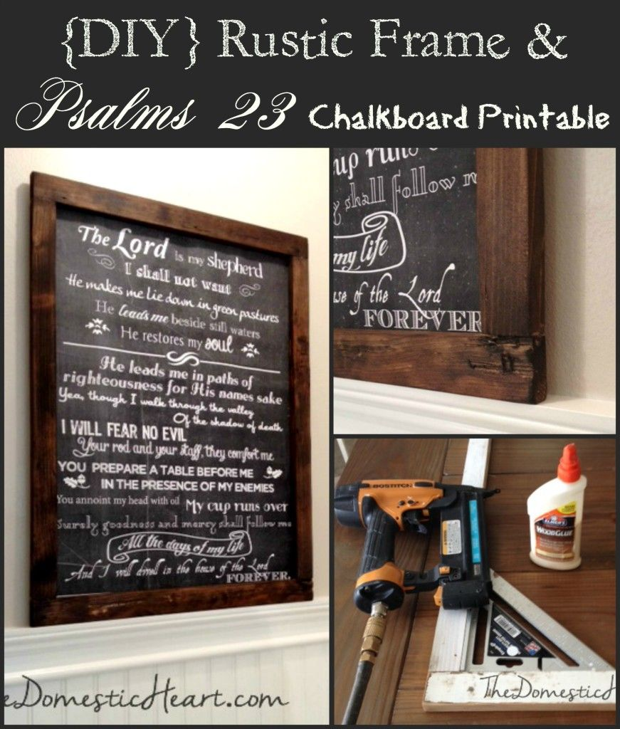 DIY Rustic Wood Frame for Large artwork plus free 18x24 scripture ...