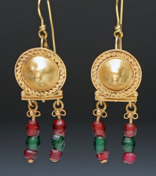 Roman Gold Shield Earrings With Glass Beads C 1st 3rd Century