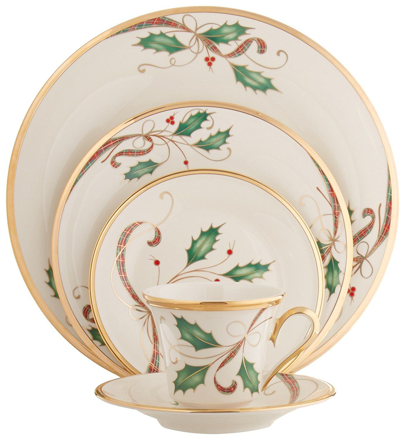 Amazon Com Lenox Holiday Nouveau 5 Piece Place Setting Service For 1 Kitchen Amp Dining Christmas Dishes Gold Place Setting Holiday Dinnerware