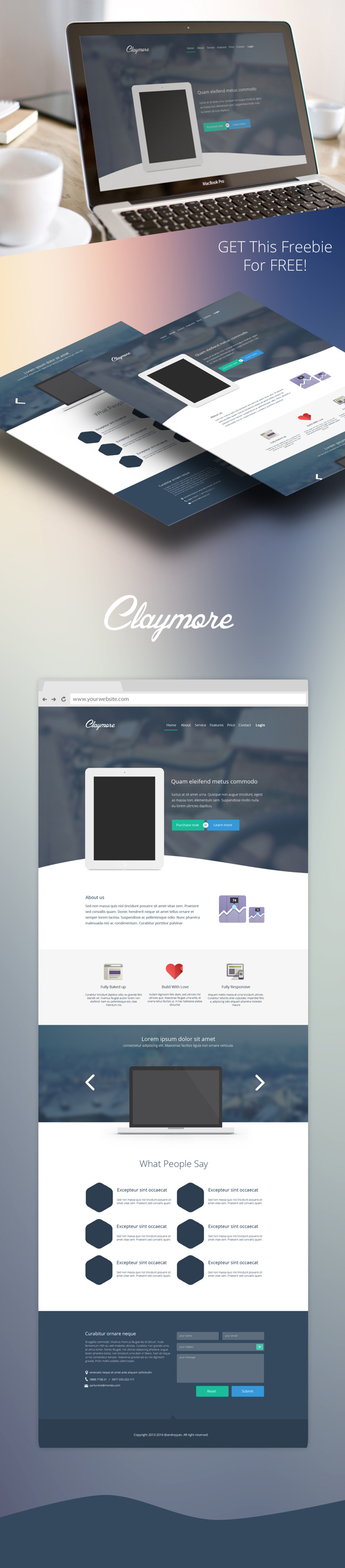 claymore free psd app landing page free psd templates pinterest app mockup and ui ux. Black Bedroom Furniture Sets. Home Design Ideas