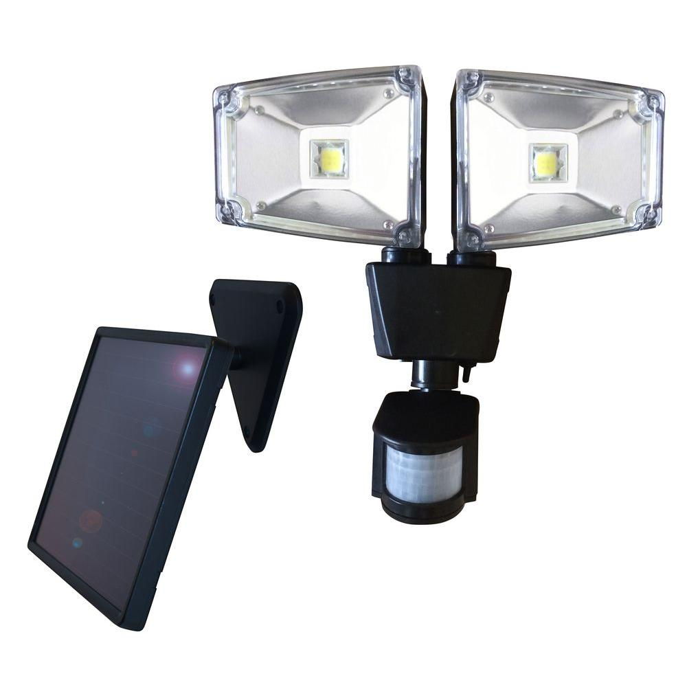 160 Degree Black Motion Sensing Outdoor Solar Dual Lamp Security