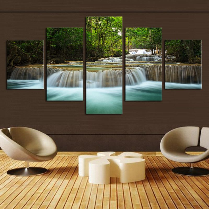 5 panel waterfall painting canvas wall art picture home decoration living room canvas modern paintinglarge canvas - Home Decor Wall Art