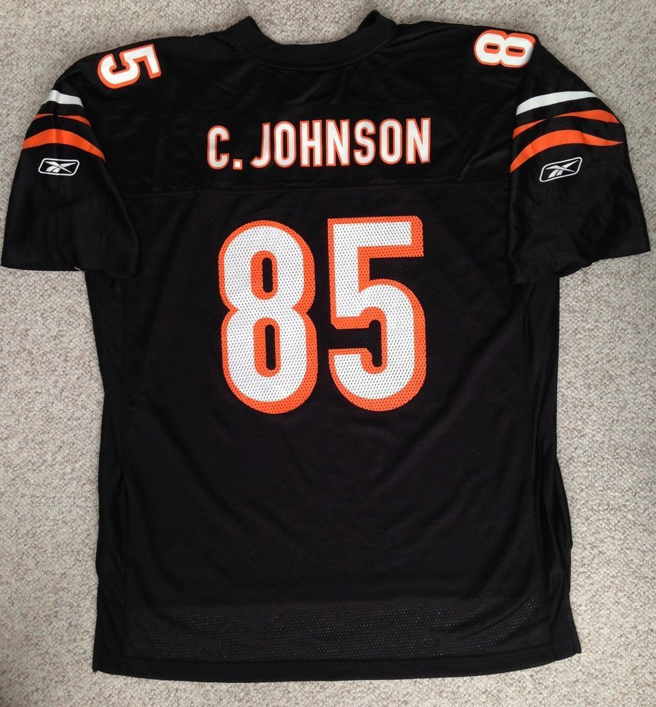 rare vtg CINCINNATI BENGALS CHAD JOHNSON JERSEY Black Reebok MEN 2XL XXL  adult C  Reebok  CincinnatiBengals be8bcd0f8
