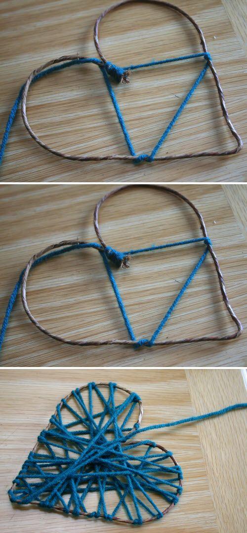 fabriquer une suspension en forme de coeur hearts pinterest deco coeur bricolage noel and. Black Bedroom Furniture Sets. Home Design Ideas