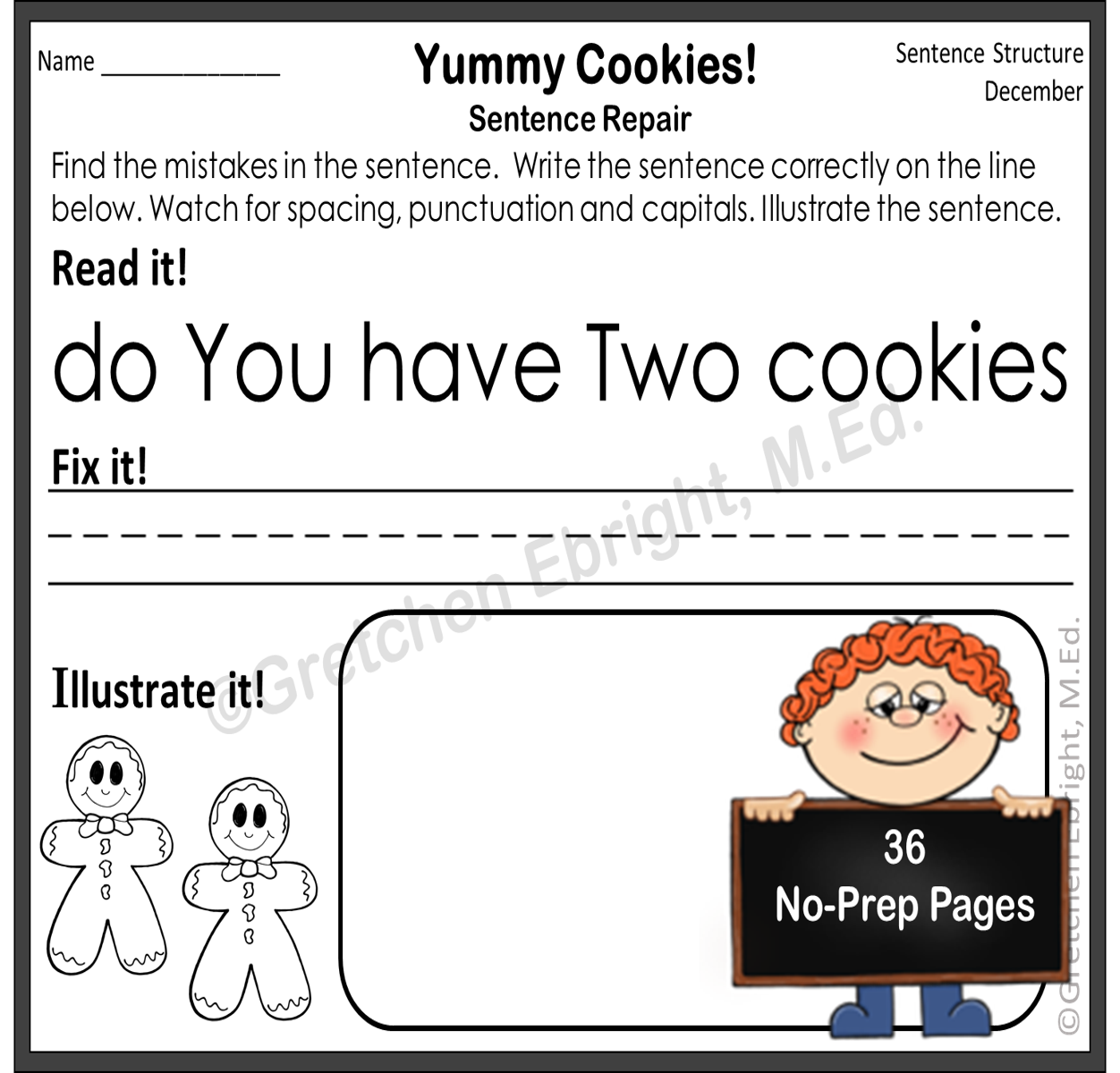 Sentence Repair Monthly Themed Sentence Editing Sheets 36
