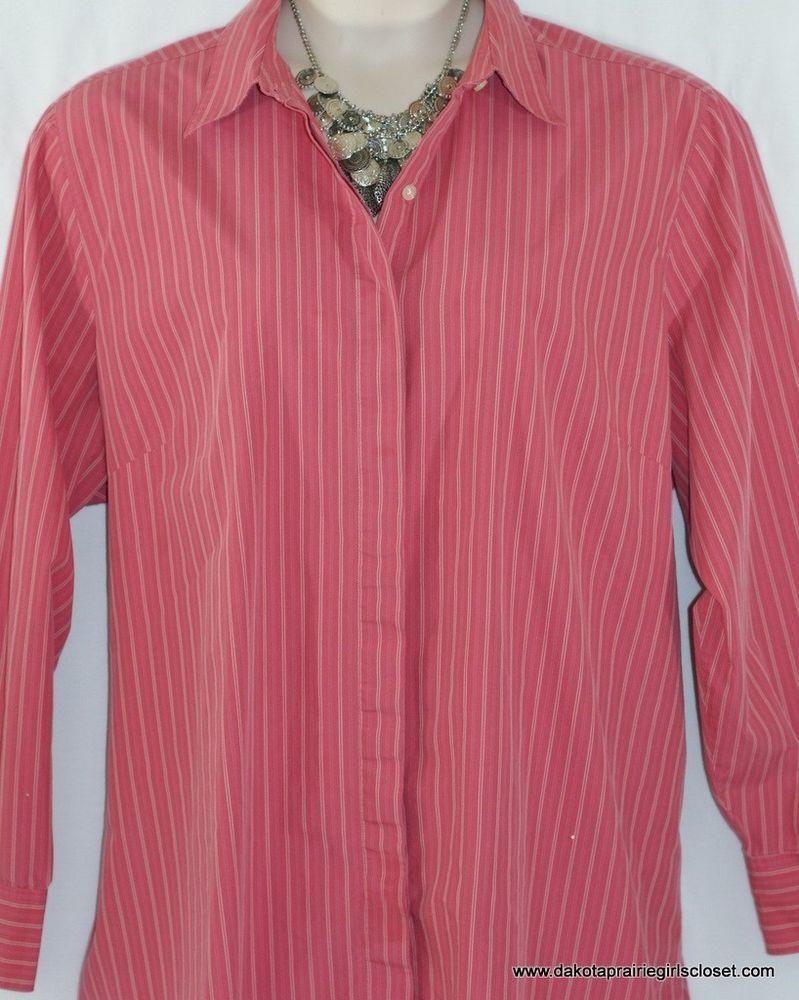 542feaaf4e5 Lands End Womens Plus Size 24W Top Button Down Shirt Pink Pinstripe Long  Sleeve  LandsEnd  ButtonDownShirt  Casual
