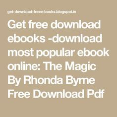 the magic rhonda byrne ebook free download