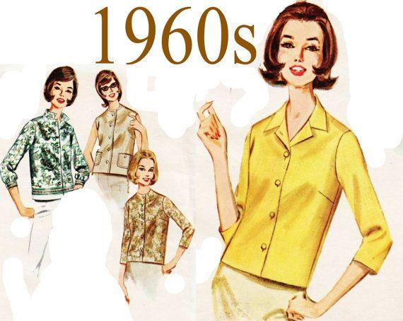 a1edb700f29 1960s Womens Shirt Butterick 2683 sz 14 bst 34 by UnderCutPatterns ...